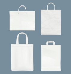 shopping bag mockup paper handle plastic paper vector image