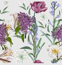 Spring bouquets on vintage light background vector