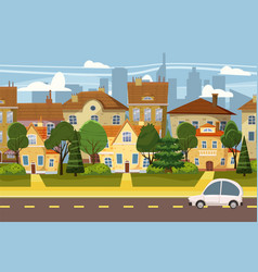 suburban village of big city trees road sky and vector image
