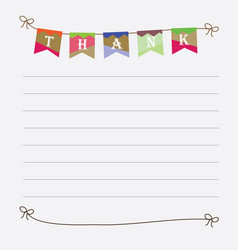 thank you sign with colorful bunting flags image vector image