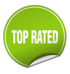 Top rated round green sticker isolated on white vector