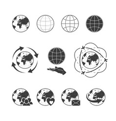 travelling icon set with globe earth on white vector image