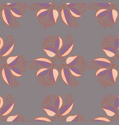 Variegated leaves on gray orange and violet vector
