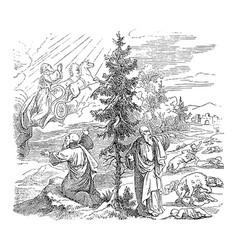 Vintage drawing biblical prophet elijah is vector