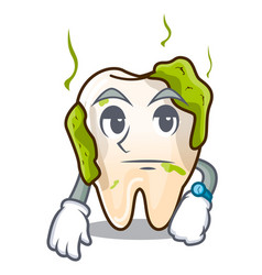waiting cartoon decayed tooth with dental caries vector image