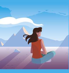 Woman contemplating horizon in snowscape scene vector