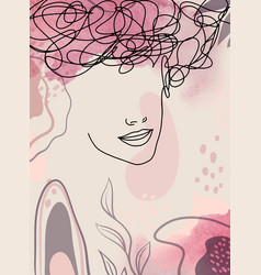 woman portrait on modern pastel background 1 vector image