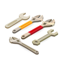 wrench spanner isometric construction tools vector image