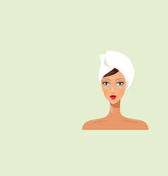 Young woman with towel wrapped around her head vector