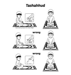 Muslim Prayer Guide Tashahhud Position Outline vector image vector image