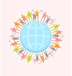 People around the world holding hands unity vector
