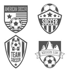 Set of vintage soccer football labels emblem and vector image