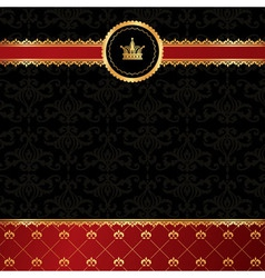 Vintage black background with golden ornamental vector image