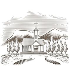 Church landscape vector image vector image