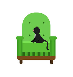 cute black cat sitting on a green armchair home vector image