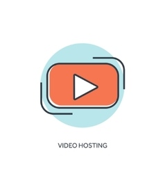 Flat lined play icon Video hosting vector image