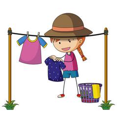 girl doing laundry outside vector image