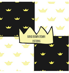 hand drawn crowns seamless pattern set vector image