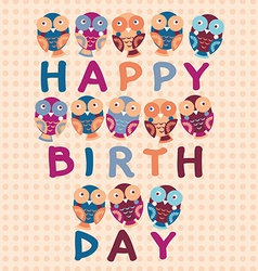 happy birthday card cute owls Blue pink purple vector image vector image
