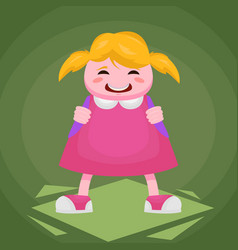 picture of a little cheerful girl in a pink dress vector image