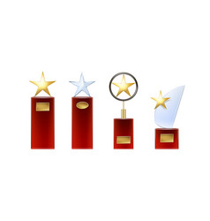 set of star trophies vector image vector image
