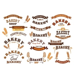 Bakery shop and pastry signs vector image vector image