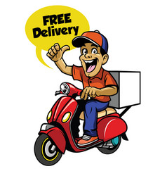 delivery guy riding scooter vector image