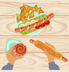 fast food with beer vector image vector image