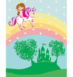 girl on a unicorn flying on a rainbow vector image vector image