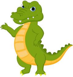 happy crocodile cartoon presenting vector image vector image