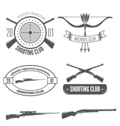 Shooting club label collection of elements and vector image