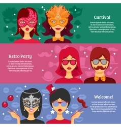 Three Horizontal Banners For Party Advertising vector image vector image