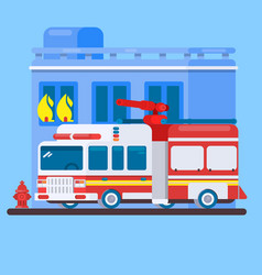 red fire truck or fire engine flat vector image