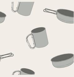 set of hand drawn camping equipment drawing vector image