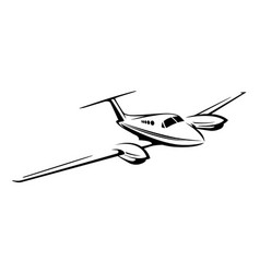 Small private twin engine airplane vector