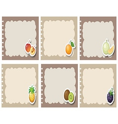 Square labels in gray with fruits vector image vector image