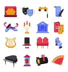 Theatre Icons Set vector image