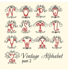 Vintage alphabet set letters part 2 vector image