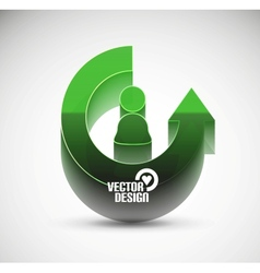 3d glossy arrow circle hi-tech concept vector image