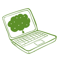 A green laptop with an image a tree vector