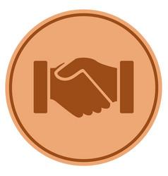 Acquisition handshake bronze coin vector