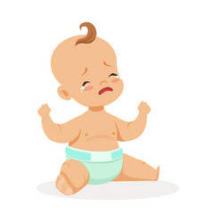 Adorable little baby sitting and crying colorful vector
