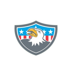 American Bald Eagle Head Flag Shield Cartoon vector