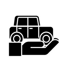 auto insurance - car in hand icon vector image