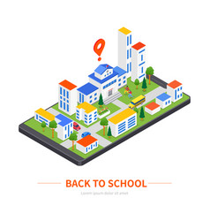 back to school - modern colorful isometric vector image