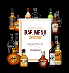bar menu frame alcohol drinks vector image