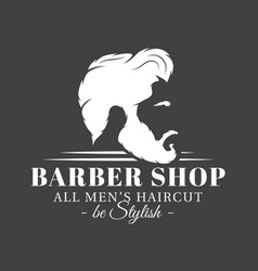 Barbershop label isolated on black background vector