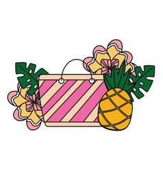 beach bag pineapple flower tropical summer vector image