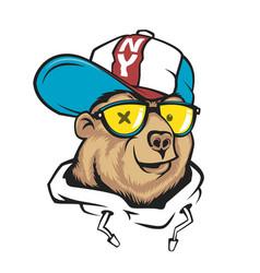 bear in cap print design for t-shirt vector image