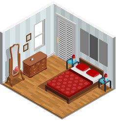 Bedroom isometric design vector
